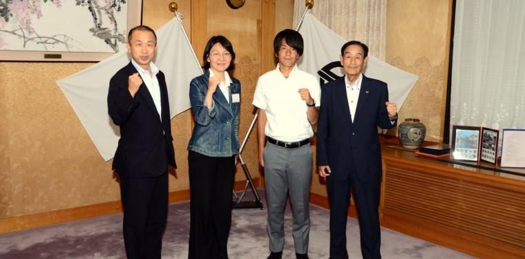 リオ五輪・サッカー日本代表 ファジアーノ岡山・矢島選手が倉敷市訪問 1-1