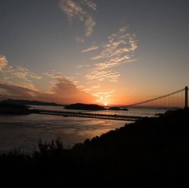 鷲羽山展望台からの夕日 1-3