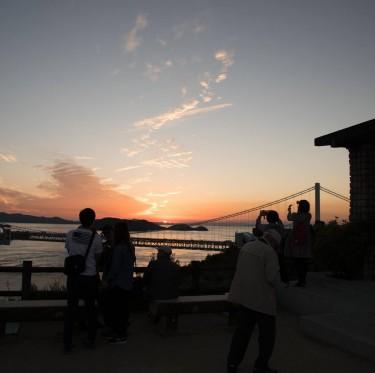 鷲羽山展望台からの夕日 2-1