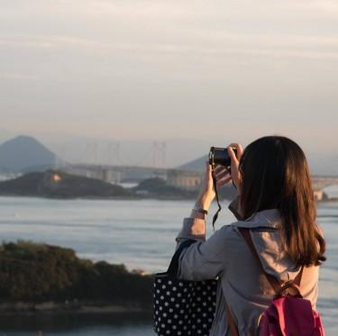 鷲羽山展望台からの夕日 1-2