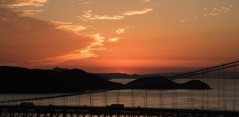 鷲羽山展望台からの夕日 1-1