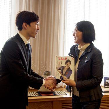 田中刑事選手が倉敷市長を訪問 2-2