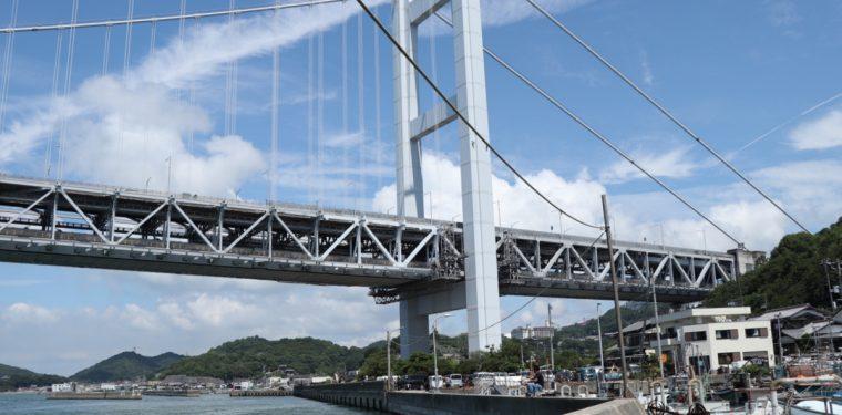 倉敷市下津井・田土浦公園や付近の堤防からの瀬戸大橋。